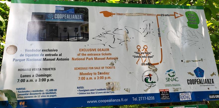 manuel antonio national park ticket map