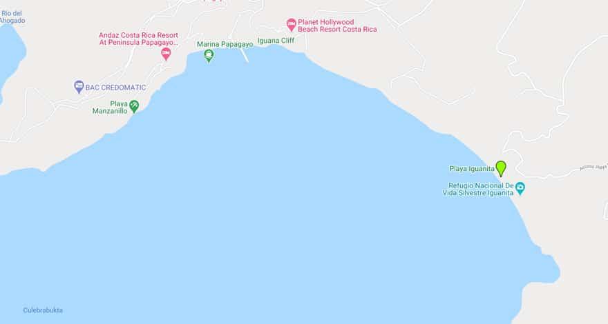playa iguanita google map