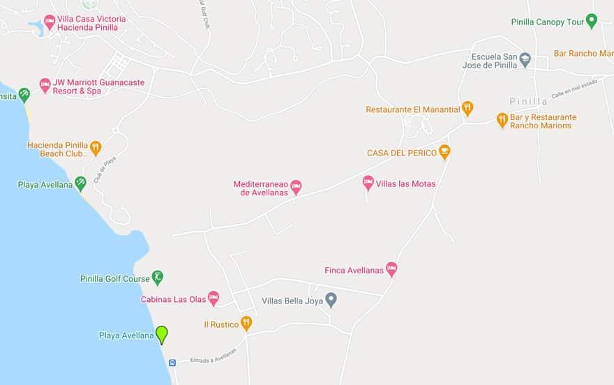 playa avellanas map