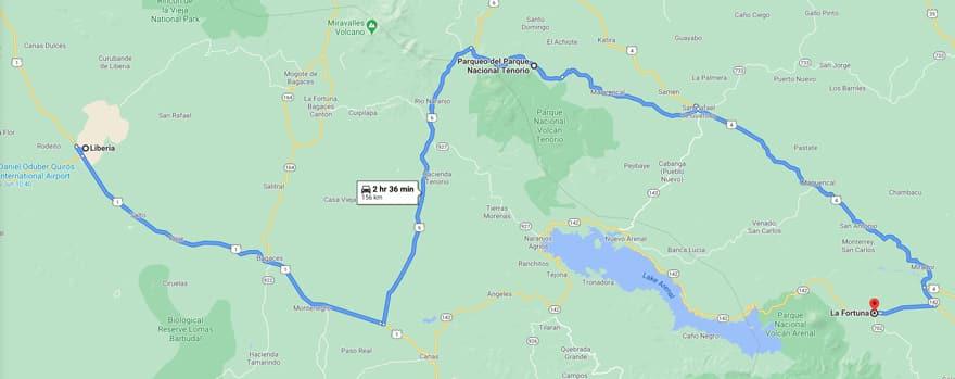 map from liberia to rio celeste to la fortuna