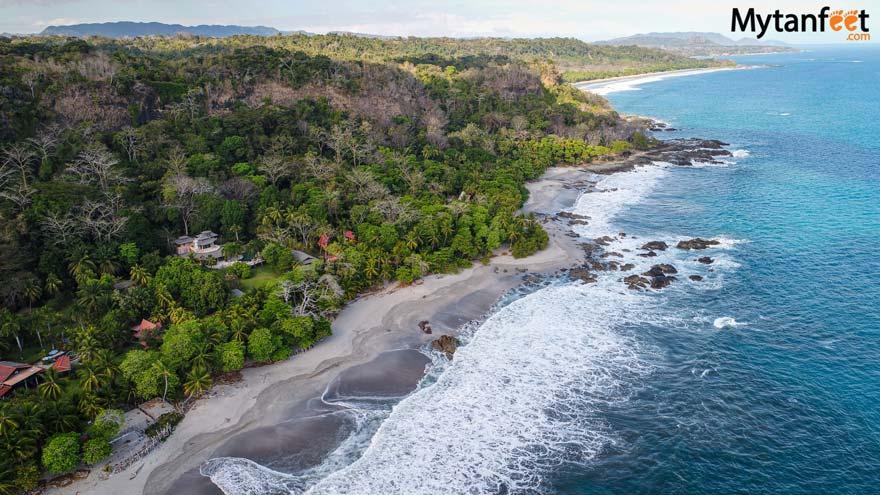 Montezuma views of beachfront hotels and houses