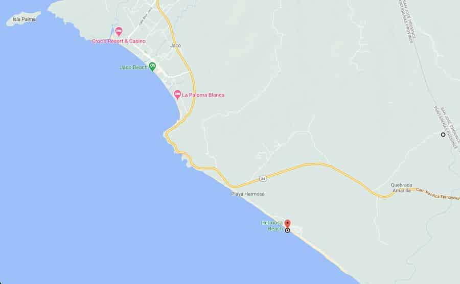 Playa Hermosa Jaco map