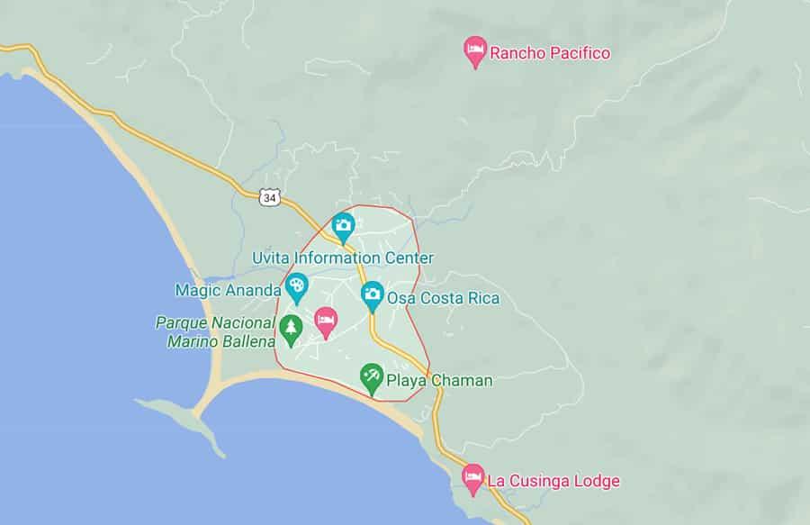 map of uvita