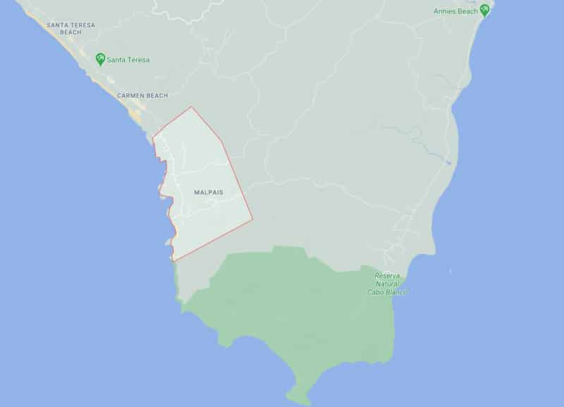 Mal Pais Costa Rica map