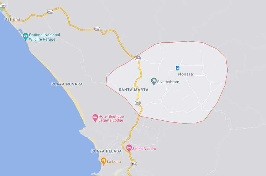 Nosara, Costa Rica map
