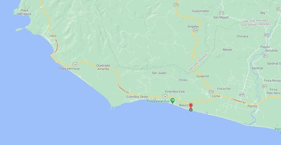 playa bejuco map
