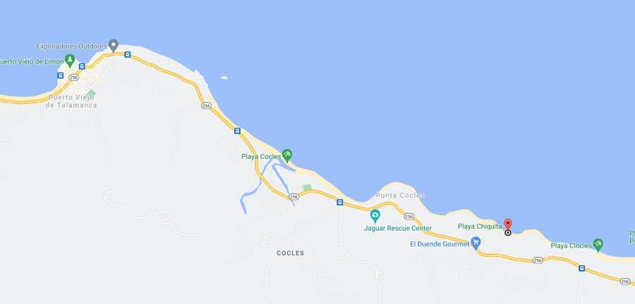 Playa Chiquita map