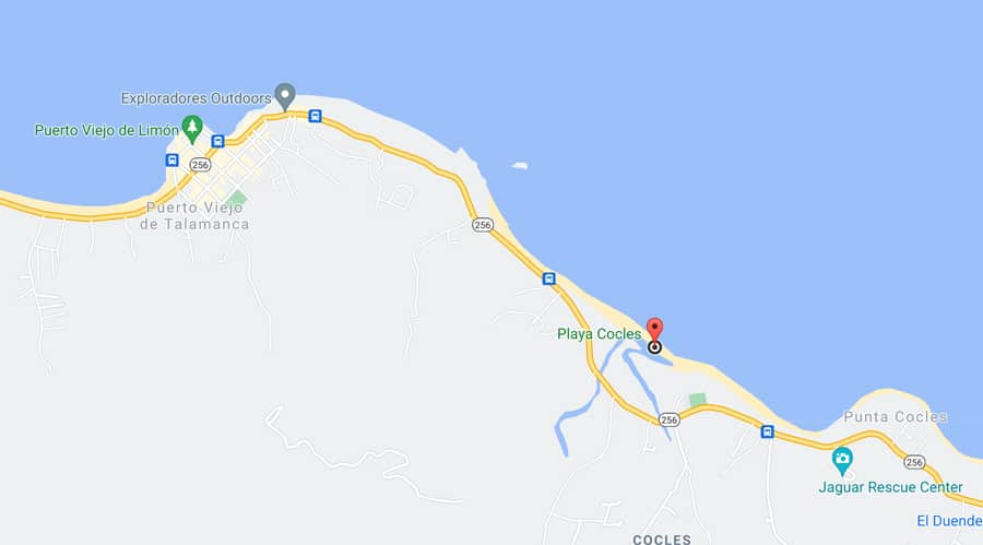 Playa Cocles map