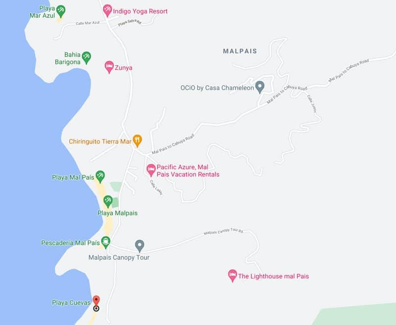 Playa Cuevas map