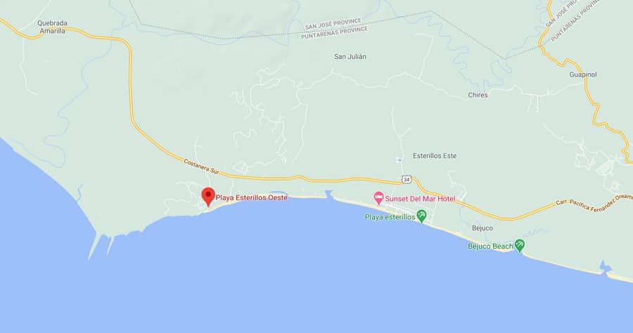 playa oesterillos oeste map