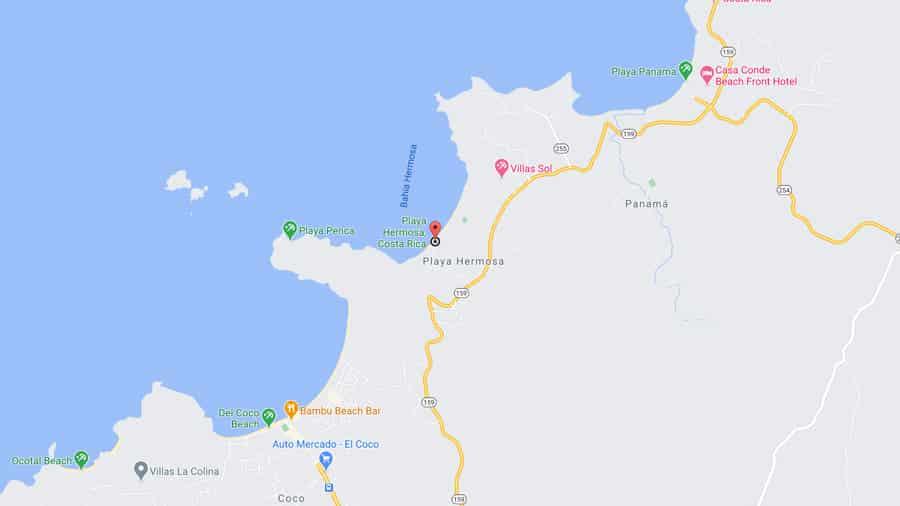 Playa Hermosa Guanacaste map