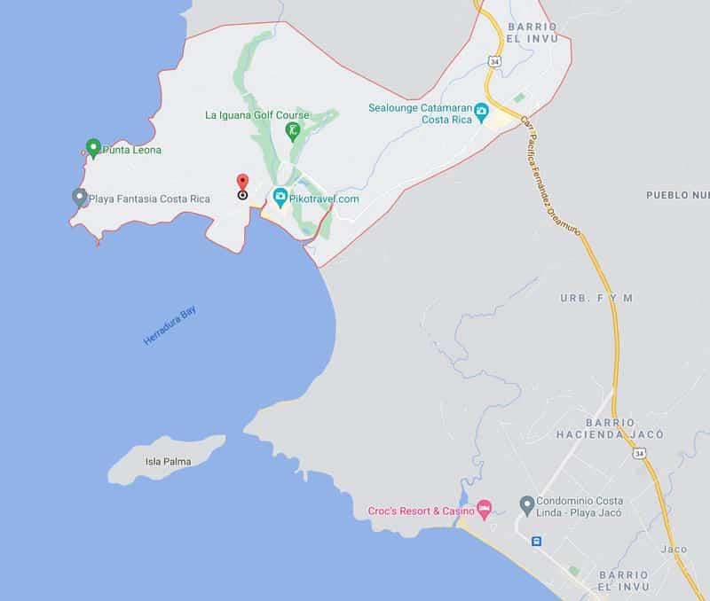Playa Herradura map