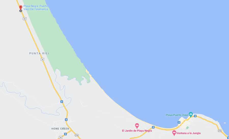 Playa Negra Puerto Viejo map