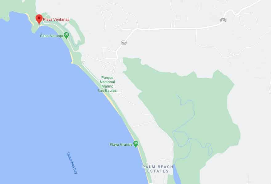 Playa Ventanas Guanacaste map