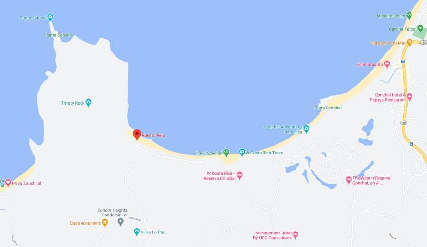 Puerto Viejo Guanacaste map