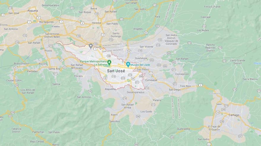 San Jose, Costa Rica map