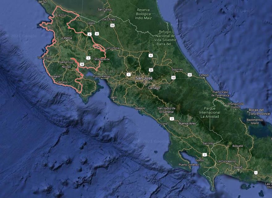 guanacaste costa rica map
